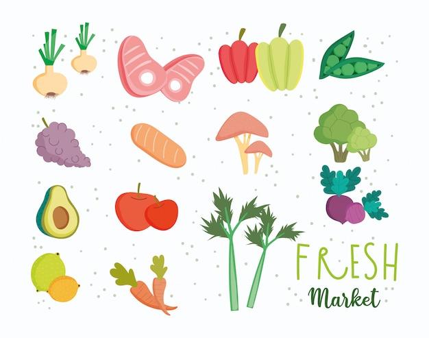 Alimento sano, dieta di nutrizione dell'equilibrio del mercato di prodotti freschi