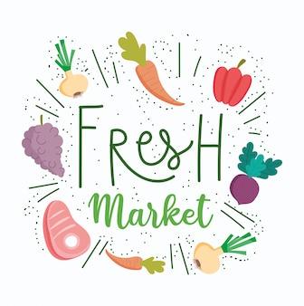 Alimento sano, dieta di nutrizione dell'ingrediente organico del mercato di prodotti freschi