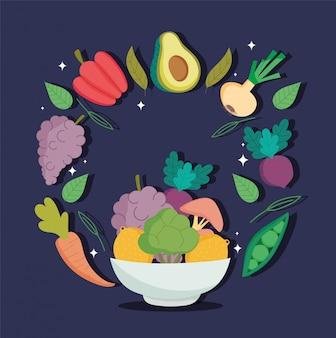 Alimento, verdure e frutta sani nella dieta di nutrizione dell'equilibrio di salute della ciotola