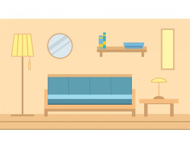 All'interno della stanza fangosa dello stato con divano mobili, la lampada, un tavolo, lo specchio e lo scaffale appeso a una parete c'è una lampada da terra. pavimento di legno.