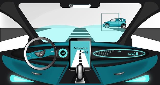 All'interno di un'auto elettrica intelligente