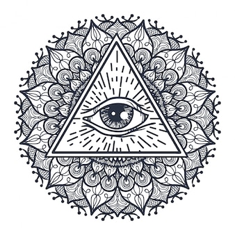 All seeing eye in triangle and mandal