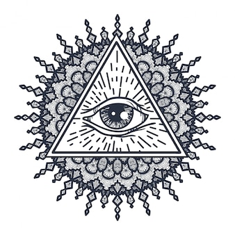 All seeing eye in triangle and mandala