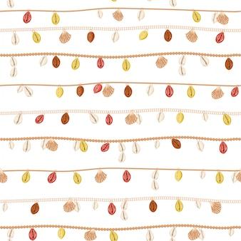 Alla moda della collana retrò con catena d'oro e perla, conchiglia estiva, decorazione di gioielli modello senza soluzione di continuità in striscia orizzontale vettoriale design per moda, tessuto, web, avvolgimento, carta da parati e tutte le stampe