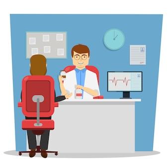 Alla reception al dottore il disegno della conversazione con il cardiologo sulla terapia