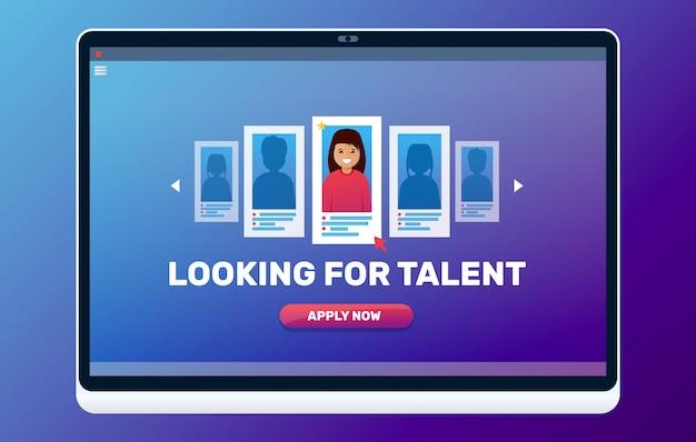 Alla ricerca di illustrazione web di talento. concetto di colloquio di lavoro.