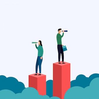 Alla ricerca di opportunità, nuovo inizio, visione di successo, illustrazione di affari