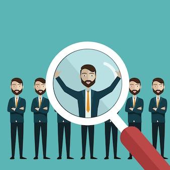 Alla ricerca di personale professionale con lente di ingrandimento