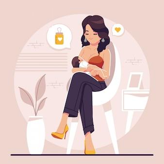 Allattamento al seno design piatto illustrazione sfondo