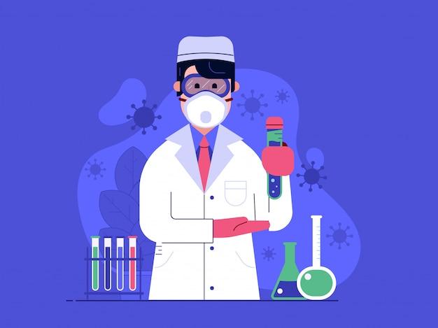 Allegro medico con vaccino contro il virus nella maschera di protezione in laboratorio medico.