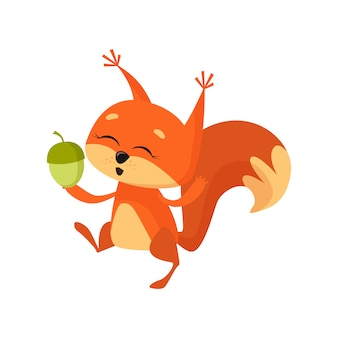 Allegro simpatico scoiattolo che tiene dado e danza