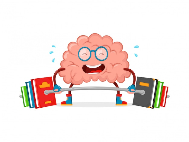 Allena il tuo cervello. personaggio dei cartoni animati cervello illustrazione piatto divertente personaggio creativo. educazione, scienza, intelligenza, cervello libri fitness .trainlift con bilanciere libro. isolato su bianco