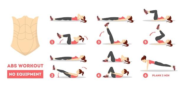Allenamento abs per donne. esercizio per un corpo perfetto
