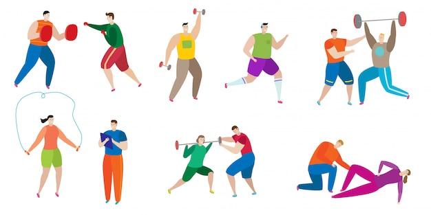 Allenamento dell'istruttore di forma fisica con la gente sull'illustrazione disegnata a mano di sport del carattere isolata.
