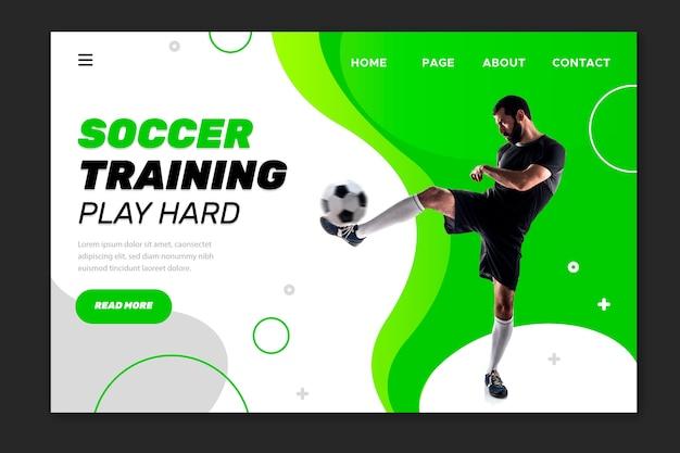 Allenamento di calcio gioca duro landing page