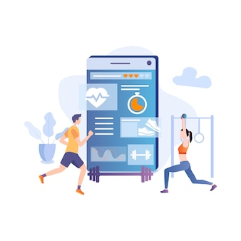 Allenamento fitness con app per accessori per smartphone