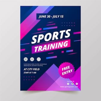 Allenamento sportivo con design di poster sportivi