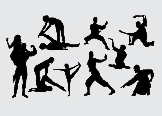 Allenamento sportivo e silhouette di arti marziali