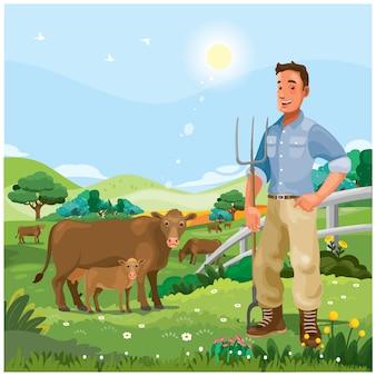 Allevatori di bestiame che radunano il suo bestiame