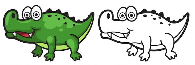 Alligatore colorato e bianco e nero per libro da colorare