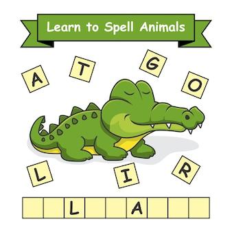 Alligatore impara a sillabare gli animali