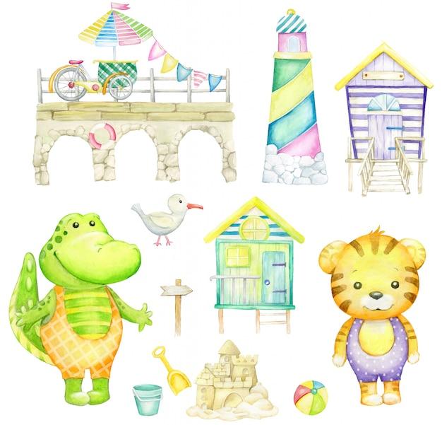 Alligatore, tigre, gabbiano, castello di sabbia, faro, casa sulla spiaggia, palla. acquerello impostato su uno sfondo bianco.