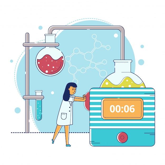 Allini l'illustrazione di ricerca del laboratorio, carattere minuscolo dello scienziato del fumetto che fa la prova di esperimento in provetta su bianco