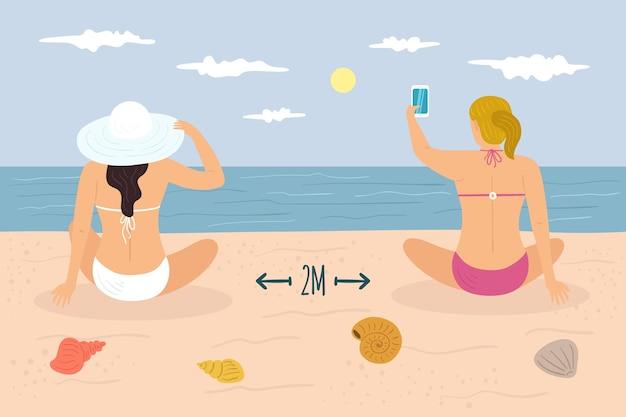 Allontanamento sociale sull'illustrazione della spiaggia