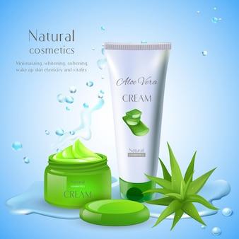 Aloe vera con testo modificabile e prodotti cosmetici con pacchetti per crema e gocce d'acqua