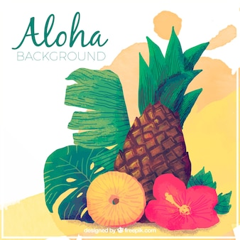 Aloha con ananas e fiori di acquerello