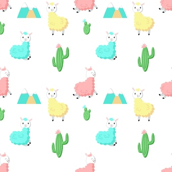 Alpaca carino con cactus