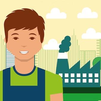 Alternativa di energia di città fabbrica industria giovane uomo