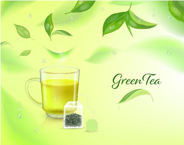 Alto sfondo dettagliato con foglie di tè verde in movimento.