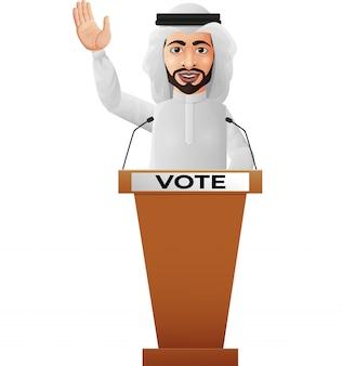 Altoparlante arabo dell'uomo d'affari sul podio di presentazione