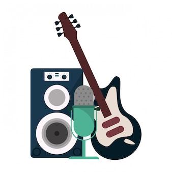 Altoparlante musicale con microfono e chitarra elettrica
