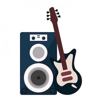 Altoparlante musicale e chitarra elettrica