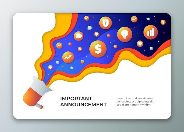 Altoparlante per l'illustrazione del concetto di annuncio con simboli di marketing