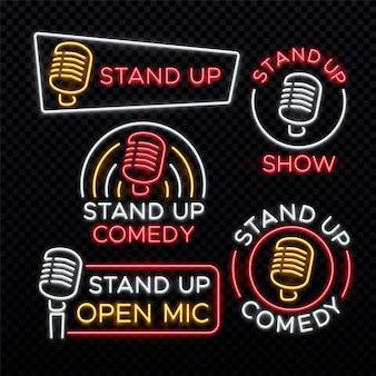 Alzati comici insegne luminose al neon. emblema della commedia in piedi