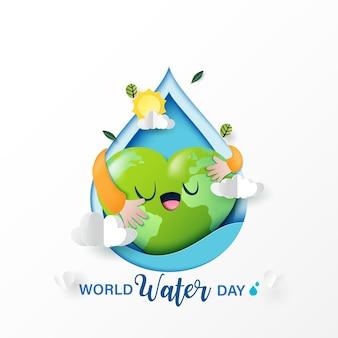 Ama la natura e risparmi l'acqua per l'ecologia e il concetto di conservazione dell'ambiente.