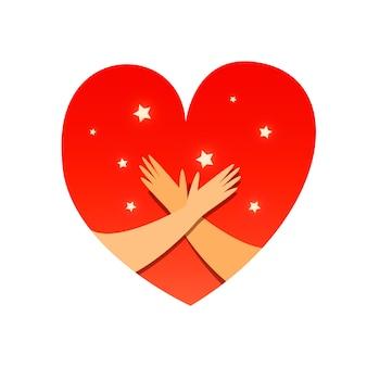 Ama te stesso. le mani tengono l'amore