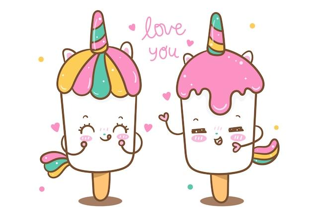 Amante del gelato vettoriale di unicorno kawaii