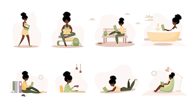 Amanti dei libri. donne africane della lettura che tengono i libri. preparazione per esame o certificazione. concetto di biblioteca di conoscenza ed educazione, lettori di letteratura. set di illustrazione vettoriale in stile piano.