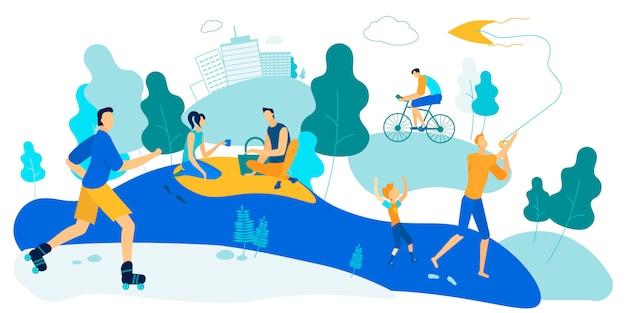 Ambientazione esterna attività all'ora legale city park leisure