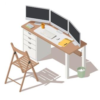 Ambiente di lavoro specialista it con vettore di monitor