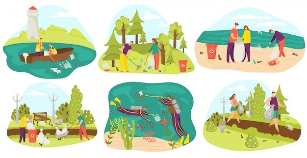 Ambiente e volontari che puliscono e raccolgono immondizia in sacchi, nel parco, in mare insieme di illustrazioni. ecologia, rifiuti e cura dell'ambiente, volontariato, riciclaggio e pulizia del pianeta verde.