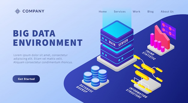 Ambiente per big data con database e server di strutture informative