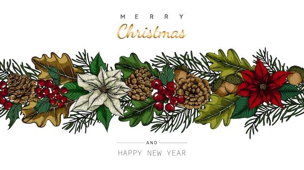 Ambiti di provenienza e cartolina d'auguri del buon anno e di buon natale con l'illustrazione del disegno della foglia e del fiore.