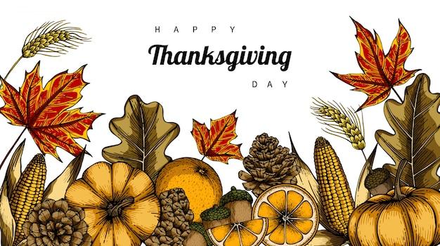Ambiti di provenienza e cartolina d'auguri di giorno di ringraziamento con l'illustrazione del disegno della foglia e del fiore.