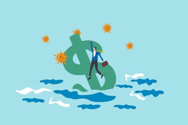 America disoccupazione e crisi di disoccupazione da coronavirus covid-19 o economia di recessione e concetto di incidente finanziario, uomo d'affari senza lavoro che tiene il segno del dollaro usa che affonda nell'oceano con un agente patogeno del virus.