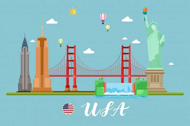 America travel landscape vector illuastration